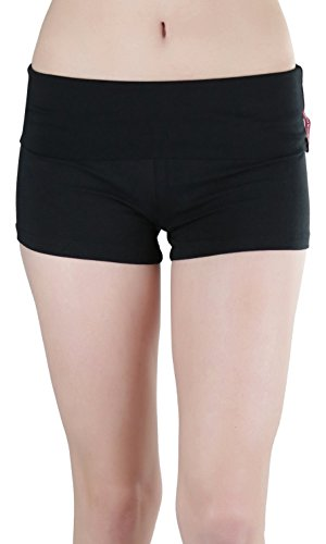 ToBeInStyle Women's Wide Waistband Rollover Yoga Shorts - Black - Medium