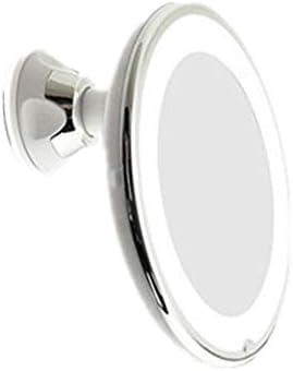 ポータブル化粧鏡 強力な吸盤360度回転コンパクトトラベルミラー付きフレキシブルLED拡大鏡照明ミラーバスルームの化粧鏡 回転式化粧鏡 (色 : 白, Size : 10X)