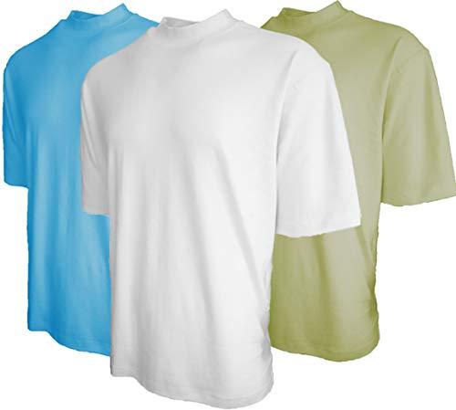 Good Life Mock Turtleneck Shirt 100% Cotton Short Sleeve Pre-Shrunk 3-Pack (XL, Sky/White/Sage 3-Pack)