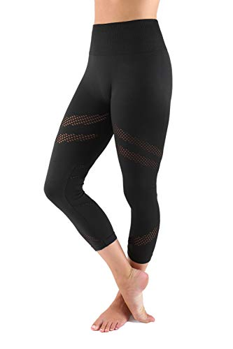 b4a76d67899bb TD Collections Women's Active Capri Leggings CFD25N - High Waisted Yoga  Pants, Black - Small