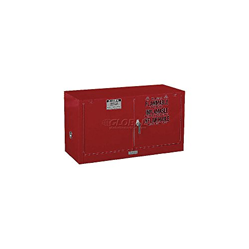 Justrite 891701 Sure-Grip EX Galvanized Steel 2 Door Manual Piggyback Safety Cabinet, 17 Gallon Capacity, 43 Width x 24 Height x 18 Depth, 1 Adjustable Shelfs, Red