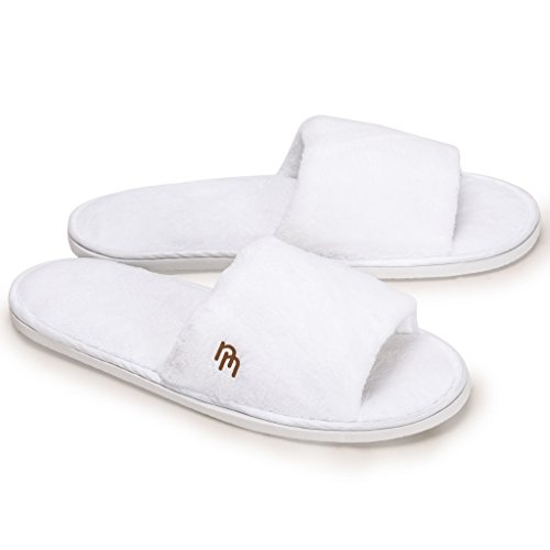 Nicely Neat 6 Pack White Open Toe Coral Fleece House and Travel Slipper - Medium (Bathroom Slippers White)