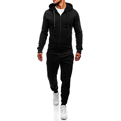 PASATO Classic Men's Autumn Winter Top Pants Sets Sports Suit Tracksuit PatchworkSweatshirt, Clearance Sale(Black, XL) by PASATO