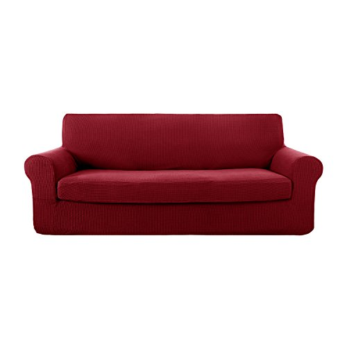 Set Piece Wine 2 (Deconovo Jacquard Stretch Solid Color Small Checked Sofa Cover Sets Spandex Polyester Sofa Slipcover for Couch Wine Red)