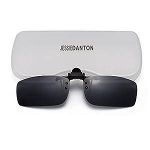 JESSIEDANTON Polarized Clip-on Flip Up Metal Clip Rimless Sunglasses, Lightweight, S Size, Black Lens