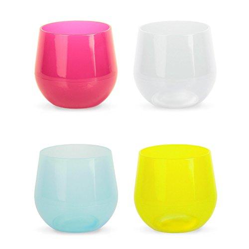 Silipint Unbreakable Silicone Polished Wine Glasses (Set of 4), 14 oz, Variety