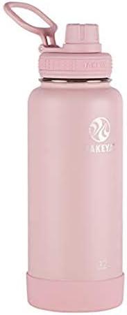 Takeya Actives - Botella de agua de acero inoxidable con tapa de boquilla, Blush, 32 Oz (946.35ml), 1