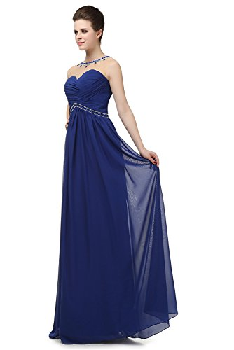 Blue Long Navy s Pleated Angelstormy Empire Women Neck Crystals Dress Illusion Bridesmaid 0PqBO