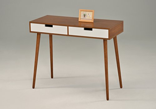 Light Walnut/White Console Sofa Table with Two Drawer - Mid-Century style