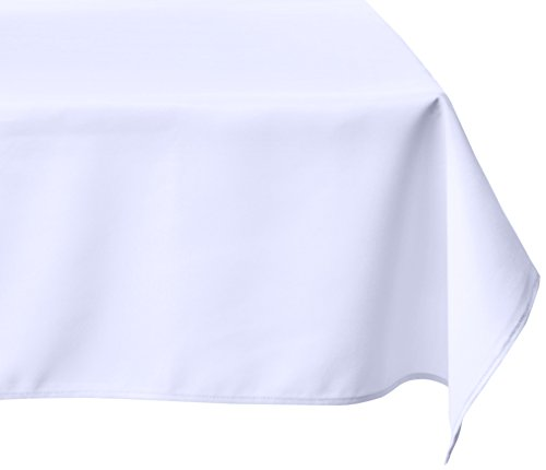 LinenTablecloth 60 x 126-Inch Rectangular Polyester Tablecloth White (Tablecloth For Party)