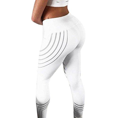 Mamum Femmes taille Yoga Fitness Leggings en cours d'excution Gym Stretch Sports pantalons pantalons (S, Blanc) Blanc