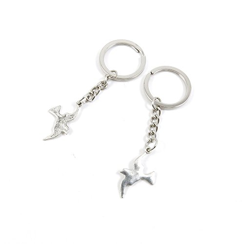 (100 Pieces Keychain Keyring Door Car Key Chain Ring Tag Charms Bulk Supply Jewelry Making Clasp Findings C1SV9T Pigeon Dove)