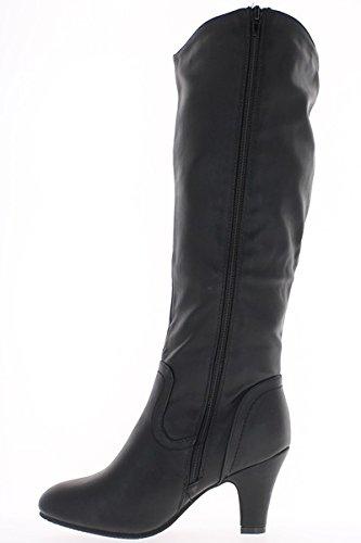 botas de tacón alto 8cm de cuero negro