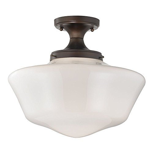 120v Line Voltage Round Canopy (16-Inch Wide Schoolhouse Ceiling Light in Bronze Finish)