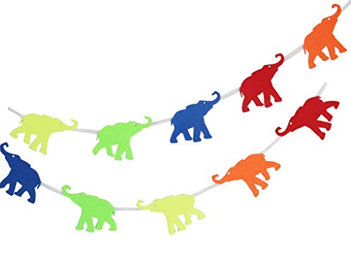 Elephant Garland Decoration for Animal Themed Children's Birthday Party, Baby Shower, or Nursery. 2mm Thick, Felt Material. 10-Foot Long Animal Garland