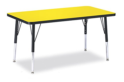Berries 6478JCE187 Rectangle Activity Table, E-Height, 24'' x 36'', Yellow/Black/Black by Berries
