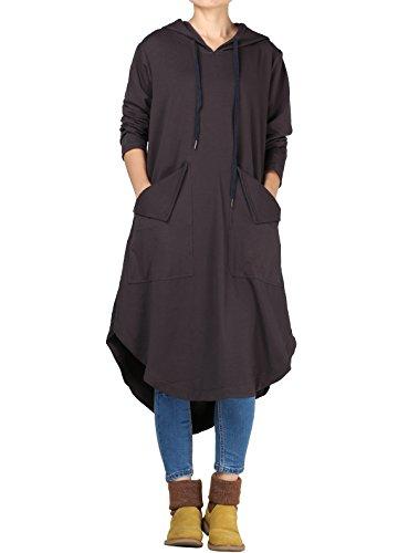 Drawstring Shirt Dress (Mordenmiss Women's Drawstring Hood Sweatshirt Dress with Big Pockets L Gray)