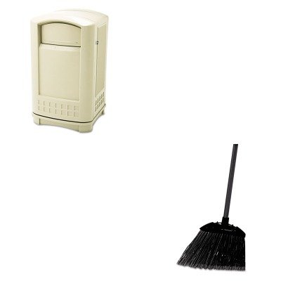 KITRCP396400BGRCP637400BLA - Value Kit - Rubbermaid Plaza Indoor/Outdoor Waste Container (RCP396400BG) and Rubbermaid-Black Brute Angled Lobby Broom (RCP637400BLA) by Rubbermaid