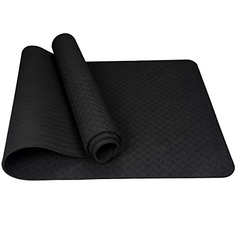 Trideer Yoga Mat 6mm Eco Friendly Material SGS Certified Ingredients TPE Recyclable Durable Exercise & Fitness Mat with Carrying Strap for Pilates Yoga Class and Outdoor