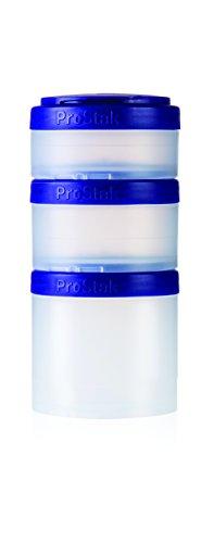 - BlenderBottle ProStak Twist n' Lock Storage Jars Expansion 3-Pak with Pill Tray, Clear/Purple