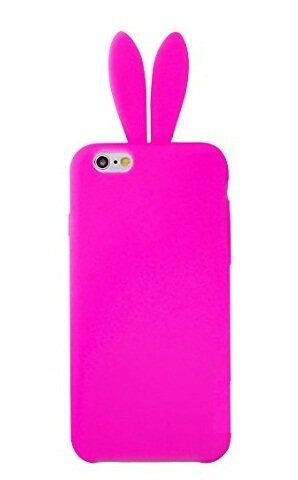Bunny Skin Case - iPhone 6 Case,Newstore Cute Lovely Rabbit Silicone Bunny Gel Case Skin Cover Protector For Apple iPhone 6 4.7 inch with Furry Tail +Free Packing With Newstore Trademark gifts (Hot Pink)