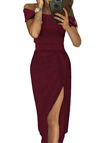 Sexy Summer Dresses for Women Formal 2019 Fall Prom Dresses for Juniors Cocktail Evening Party Night Club Midi Dress Medium Red Cocktail Evening Club Dress
