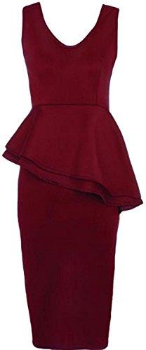 New Womens Plus Size Side Slant Double Frill Long Bodycon Peplum Midi Dress 1X US16-18 (Double Peplum Dress)