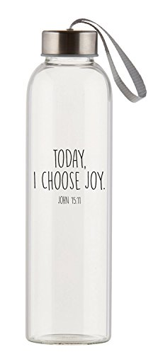 Today Choose Joy Clear 21 Ounce Glass Travel Water Bottle with Screw-Top ()