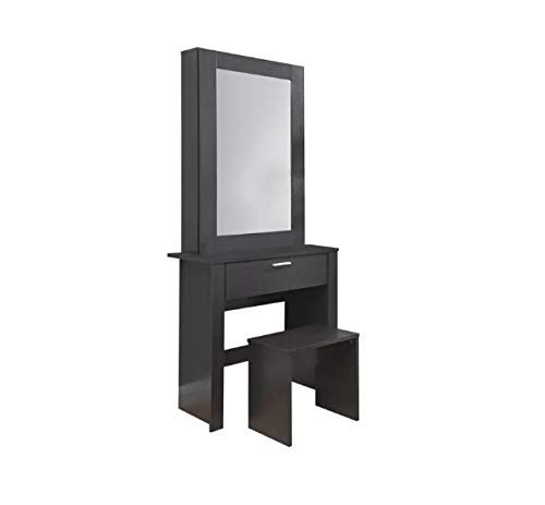 George's Home Large Dressing Table Sliding Storage Mirror Glass Set Black Bedroom Furniture Modern Vanity Wooden Makeup Girls Drawer Jewerely Jewelry Desk Cabinet Dresser STOOL IS NOT INCLUDED George's Home