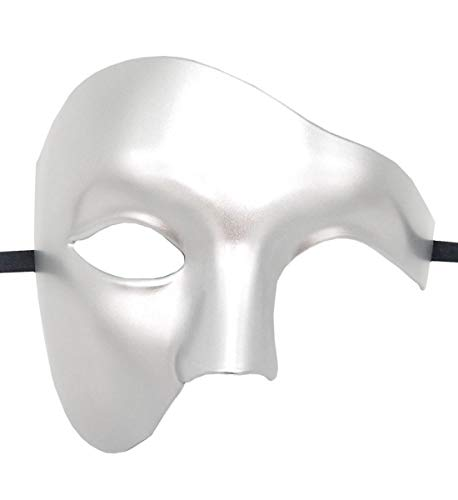 Mens Masquerade Mask Phantom of The Opera Mask Venetian Half Face Mask Halloween Costumes (Silver) -