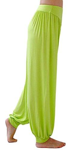 AvaCostume Womens Modal Cotton Soft Yoga Sports Dance Harem Pants, L, YellowishGreen