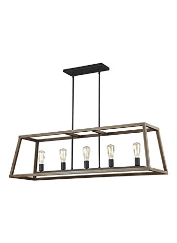 Feiss F3193/5WOW/AF 5-Light Island Chandelier, Weathered Oak Wood/Antique Forged (Forged Iron 5 Light Chandelier)