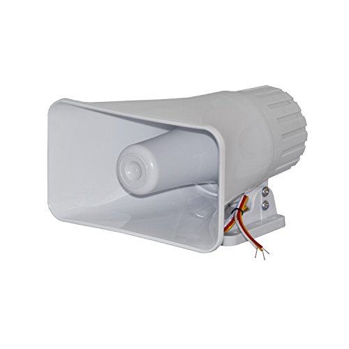 ALEKO BS112 12 V Big Electronic Wired Alarm Siren Horn for Security System, White Color