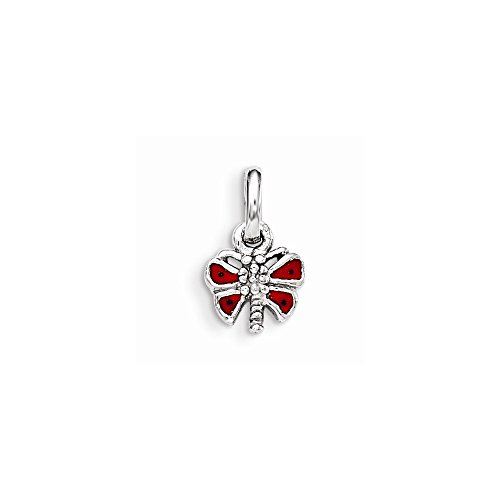 Jewelry Best Seller Sterling Silver RH Plated Child's Red Enameled Butterfly - Red Butterfly Enameled Charm