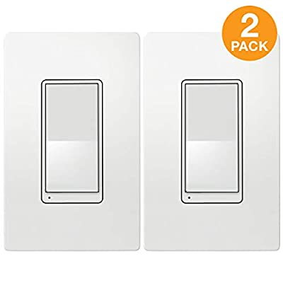 TOPGREENER Add-On Switch for TGWF500D Wi-Fi Dimmer (Cannot Be Used as a Standalone Switch, Requires TGWF500D to Work), Control Lighting from Anywhere, In-Wall Installation, Aux Switch, TGWF3K, 2 Pack