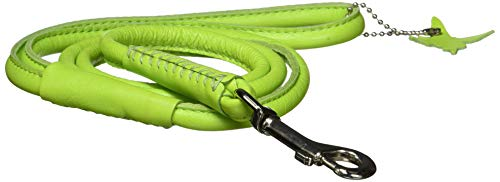 Dogline 1/3-Inch Wide Soft Padded Rolled Round Leather Dog Leash Lead, 4-Feet, Green