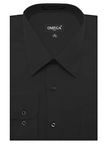 JC DISTRO Men's Regular Fit Dress Shirt w/Pocket 14-14.5 Neck-32/33Sleeve (S) Black