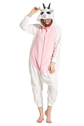 MizHome Halloween Costume Goat Hooded Pajamas Kigurumi Cosplay Goat S -