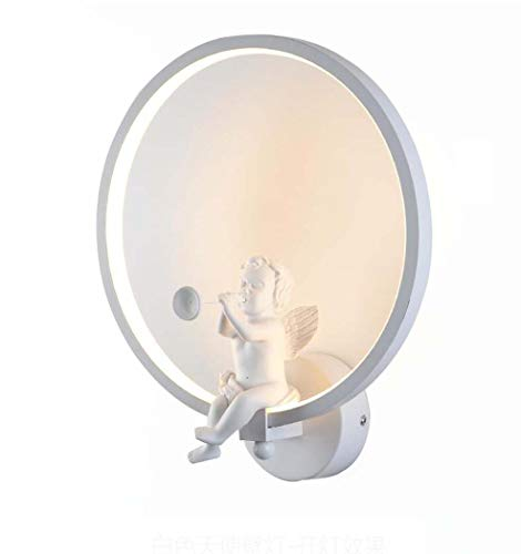LED Wall Light,Creative Acrylic Round Ring Wall Lamp With Resin Angel Blowing Horn, Bedroom Bedside Lamp Background Wall Wall Sconces (Color : White, Size : White light) ()