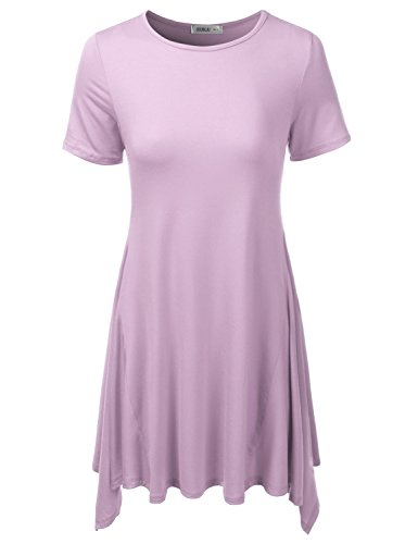 Doublju Womens Short Sleeve Loose Fit Asymmetrical Tunic Top with Plus Size (Made in USA) Lilac 2X