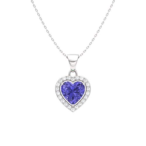 Diamondere Natural and Certified Tanzanite and Diamond Heart Petite Necklace in 14k White Gold | 0.51 Carat Pendant with Chain