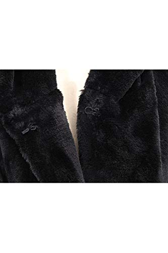 Para Abrigo Sintética Negro De Piel Mujer Con Chaqueta Capucha OqPYAn5xw