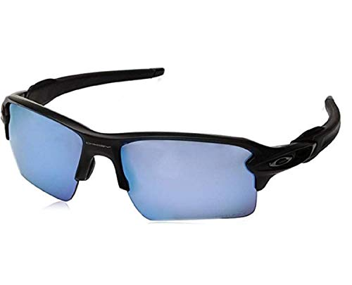 Oakley Flak 2.0 XL Sunglasses (Matte Black Frame/Prizm Deep H2 O Polarized Lens) with USA Flag Lens Cleaning ()