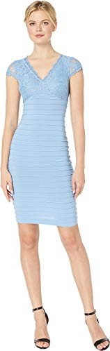 Adrianna Papell Women's Lace Top Banded Sheath Dress Rio Blue 12