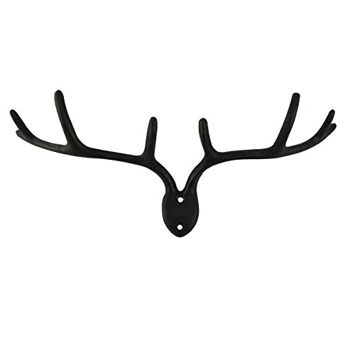 TreasureGurus, LLC Metal Deer Antlers Bathroom/Kitchen Towel Hanger Hat Rack Key Ring Hook