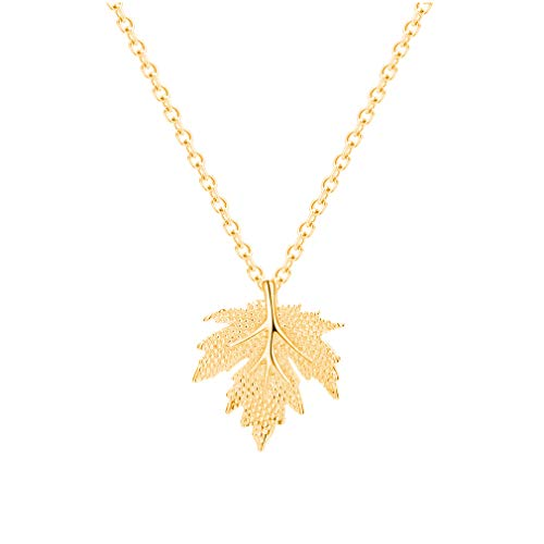 (JUESJ Charm Maple Leaf Pendant Necklace for Women Girls (Gold))