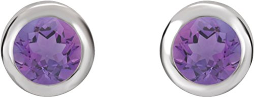 February Birthstone Stud Earrings, Rhodium-Plated 14k White Gold by The Men's Jewelry Store (for HER)