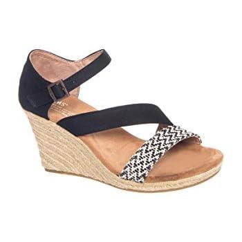 0964f6a6f6b TOMS Women s Clarissa Wedge Black White Woven Rope Sandal 8.5 B (M)