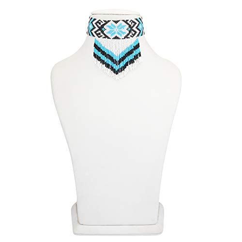 El Allure Preciosa Jablonex Native American Style Inspired White, Navy Blue and Turqouise Patterned Seed Bead Handmade Vintage Boho Designer Fashion Costume Seed Beaded Necklace Choker for Women.