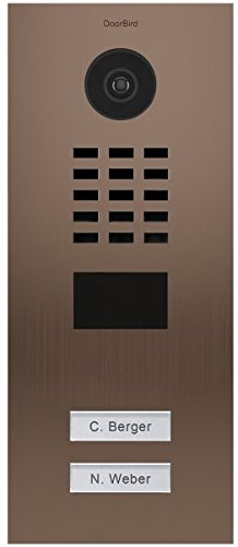 DoorBird IP Video Door Station Flush-mounted, Brushed Stainless Steel Call buttons Multi Tenants - Access Control- POE Capable (Bronze Stainless Steel / 2 Call Buttons) by DoorBird